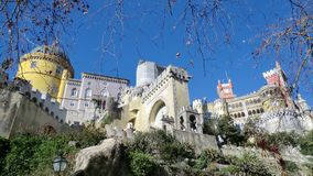 View of Sintra, Portugal, against a blue sky. View of the colourful buildings of Sintra, Portugal, against a clear blue sky royalty free stock photos