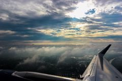 View of colourful horizon and clouds from an airplane window, Holidays, Travel stock image