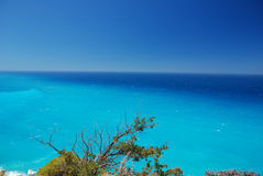 A view of colourfull sea. A view of sea from a hill over Agios Nikitas on Lefkas Royalty Free Stock Images