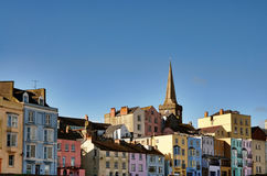 View of colourfully painted houses in Tenby. Stock Image