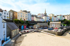 View of colourfully painted houses in Tenby, Pembrokeshire – Wales, United Kingdom Royalty Free Stock Photo