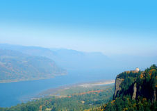 View of the Columbia River. An aerial view of the Columbia River Valley and the Vista House Stock Photos