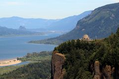 Columbia River Gorge with Vista House. View of the Columbia River Gorge with the Vista House seen near Portland, Oregon Stock Photography