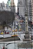 View from Columbus Circle Mall. This is the wonderful view of 59th Street heading toward the East River of Manhattan stock images