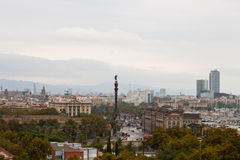 View of Columbus Monument and Barcelona city Stock Photography