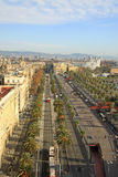 View from Columbus Monument to Ronda del Litoral street. BARCELONA, CATALONIA, SPAIN Stock Photo