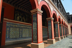 View of  columns of the first cloister of the Santo Domingo convent Royalty Free Stock Image