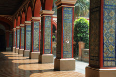 View of  columns of the first cloister of the Santo Domingo convent Royalty Free Stock Photos