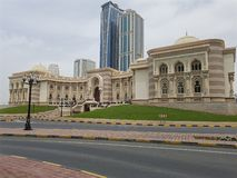 View of the Commerce Chamber in Sharjah, traditional architecture. stock photography