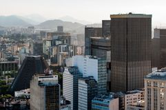 Office Buildings of Rio de Janeiro City Downtown. View of commercial and office buuldings in Rio de Janeiro city downtown, Brazil.View of commercial and office royalty free stock photos