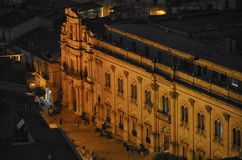 View of the commissariat of Montalbano. At sunset Royalty Free Stock Photography