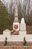 A view of the common grave of Soviet soldiers and civilians in the village of Sukko, who died figh. Sukko, Russia - March 15, 2016: A view of the common grave of Stock Photo