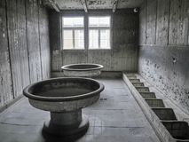 View of a common toilet inside of one of the barracks where pris stock images