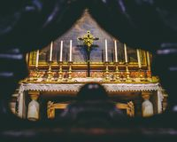 Side altar in Saint Michael and Cajatan`s stock photography