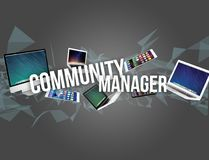 Community manager title surounded by device like smartphone, tab Stock Photo