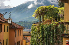 View of Como Lake, balconies with open blinds and bindweed in Bellagio. Royalty Free Stock Photos