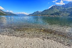 View of Como lake from the beach Royalty Free Stock Photography