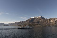 View of Como Lake, Italy. Visit the villages of Como Lake. Boat trip with a view of the coast stock photo