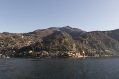 View of Como Lake, Italy. Visit the villages of Como Lake. Boat trip with a view of the coast royalty free stock images