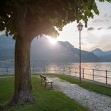 View of Como lake on sunset in Bellagio, Italy Royalty Free Stock Images