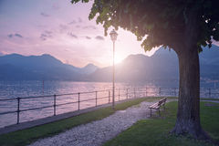 View of Como lake on sunset in Bellagio, Italy Stock Photography