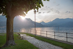 View of Como lake on sunset in Bellagio, Italy Royalty Free Stock Photos