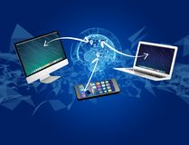 Computer and devices displayed on a futuristic interface with in Stock Photo