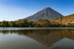 View of the Concepcion Volcano and its reflection on the water in the Ometepe Island, Nicaragua Royalty Free Stock Image