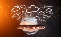 Concept of cloud stockage with icon around a smartphone Stock Image