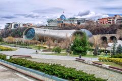View of Concert Music Theatre Exhibition Hall in Rike park and the Official residence of Georgian President in Tbilisi, Georgia stock photo