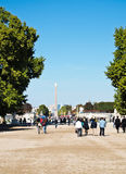 The view of Concord Square. And Triumphal Arch from Tuileries Gardens, Paris, France on afternoon Stock Photography