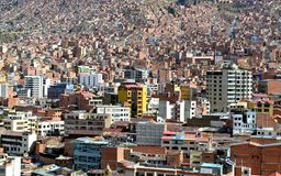 View of concrete jungle La Paz, Bolivia royalty free stock photo