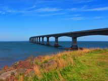 Confederation Bridge Northumberland Straight Canada. View of the Confederation Bridge fixed link which connects Prince Edward Island to main land New Brunswick Stock Images