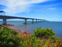 Confederation Bridge Northumberland Straight Canada. View of confederation bridge spanning the abegweit passage of the northumberland straight between Prince Royalty Free Stock Images