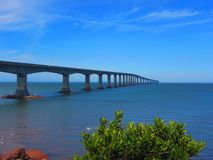 Confederation Bridge Northumberland Straight Canada. View of confederation bridge spanning the abegweit passage of the northumberland straight between Prince Royalty Free Stock Photography