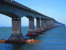 Confederation Bridge Northumberland Straight Canada. View of confederation bridge spanning the abegweit passage of the northumberland straight between Prince Royalty Free Stock Photo