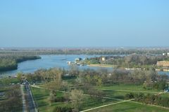 View on the confluence of the Sava river and the Danube river in Belgrade, Serbia. A view towards the the confluence of the Sava river and the Danube river in stock images