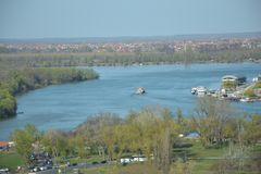 View on the confluence of the Sava river and the Danube river in Belgrade, Serbia. A view towards the the confluence of the Sava river and the Danube river in stock photography