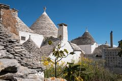 View of the conical dry stone roofs of a group of traditional trulli houses in Alberobello in Puglia Italy. View of the conical dry stone roofs of a group of stock images