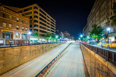 View of the Connecticut Avenue underpass at night, at Dupont Cir Royalty Free Stock Photos