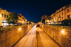 View of the Connecticut Avenue underpass at night, at Dupont Cir Stock Photo