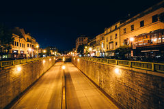View of the Connecticut Avenue underpass at night, at Dupont Cir Royalty Free Stock Photography
