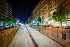 View of the Connecticut Avenue underpass at night, at Dupont Cir Royalty Free Stock Image