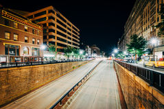 View of the Connecticut Avenue underpass at night, at Dupont Cir Stock Images