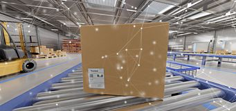 Connection over a warehouse goods stock background 3d rendering stock illustration