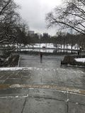 Conservatory Water in the snow Stock Images