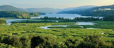 View of Constitution Marsh and the Hudson River. West Point can be seen at the upper right. Courtesy Wikipedia: Constitution Marsh is a 270-acre fresh water and royalty free stock images