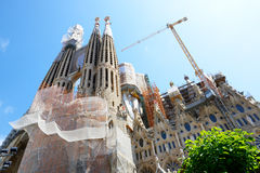 View on construction of the Basilica of the Holy Family (Sagrada Familia) Royalty Free Stock Images