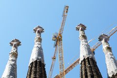 View on construction of the Basilica of the Holy Family Sagrada Familia Royalty Free Stock Photo