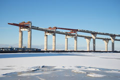 A view of the construction of the Central section of Western high-speed diameter in the Gulf of Finland. Saint Peter Stock Photos